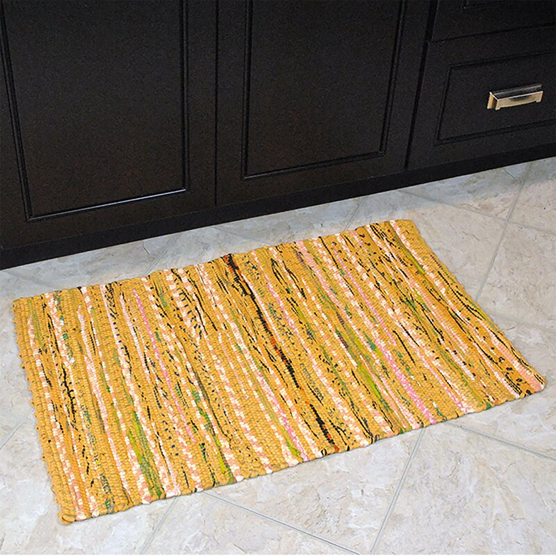 Isabelline One Of A Kind Crusado Hand Knotted Mustard 1 7 5 X 2 Cotton Area Rug Reviews Wayfair