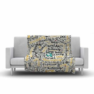 Compare prices Pom Graphic Design Positive Messages Gold Illustration Fleece Blanket ByEast Urban Home