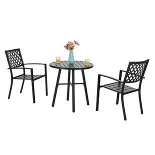 Stines Outdoor 3 Piece Bistro Set (Set of 2) by Charlton Home