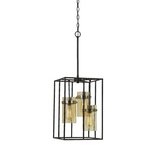 Williston Forge Echols Glass 3-Light Rectangle Pendant