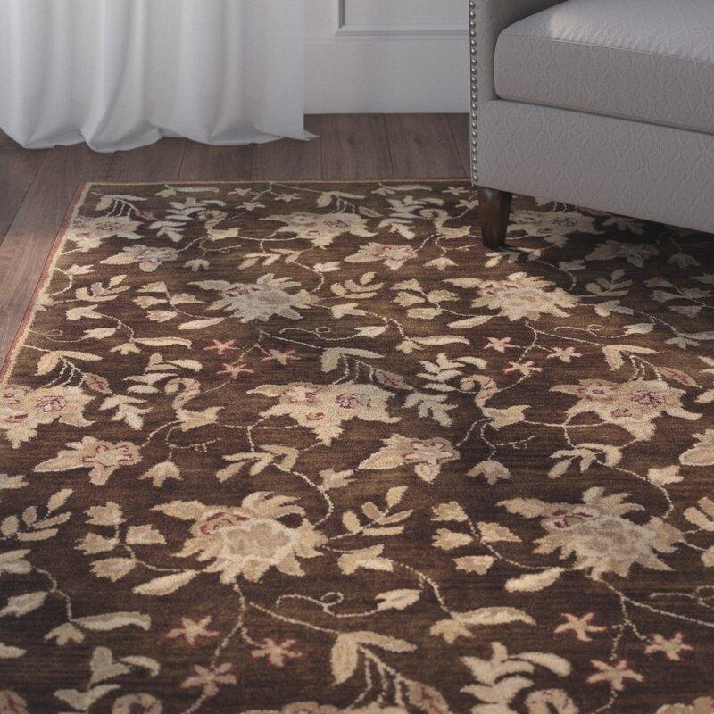 Charlton Home Goodrum Floral Handmade Tufted Wool Brown Beige Area Rug Wayfair