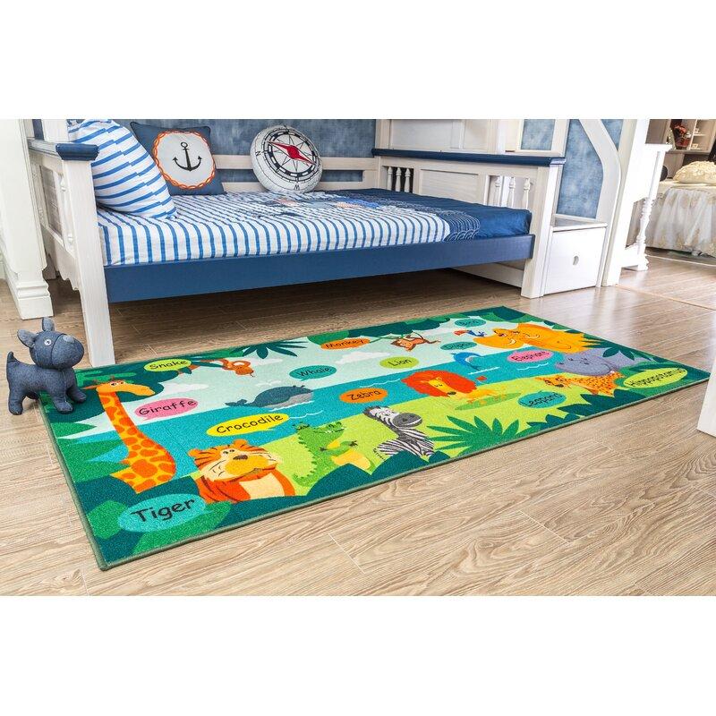Zoomie Kids Jordon Power Loom Green Orange Yellow Rug Reviews Wayfair