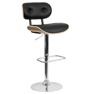 Catharina Adjustable Height Swivel Bar Stool Wade Logan