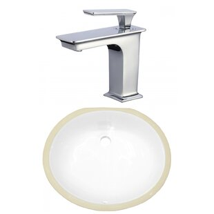Coupon Ceramic Oval Undermount Bathroom Sink with Faucet and Overflow By American Imaginations