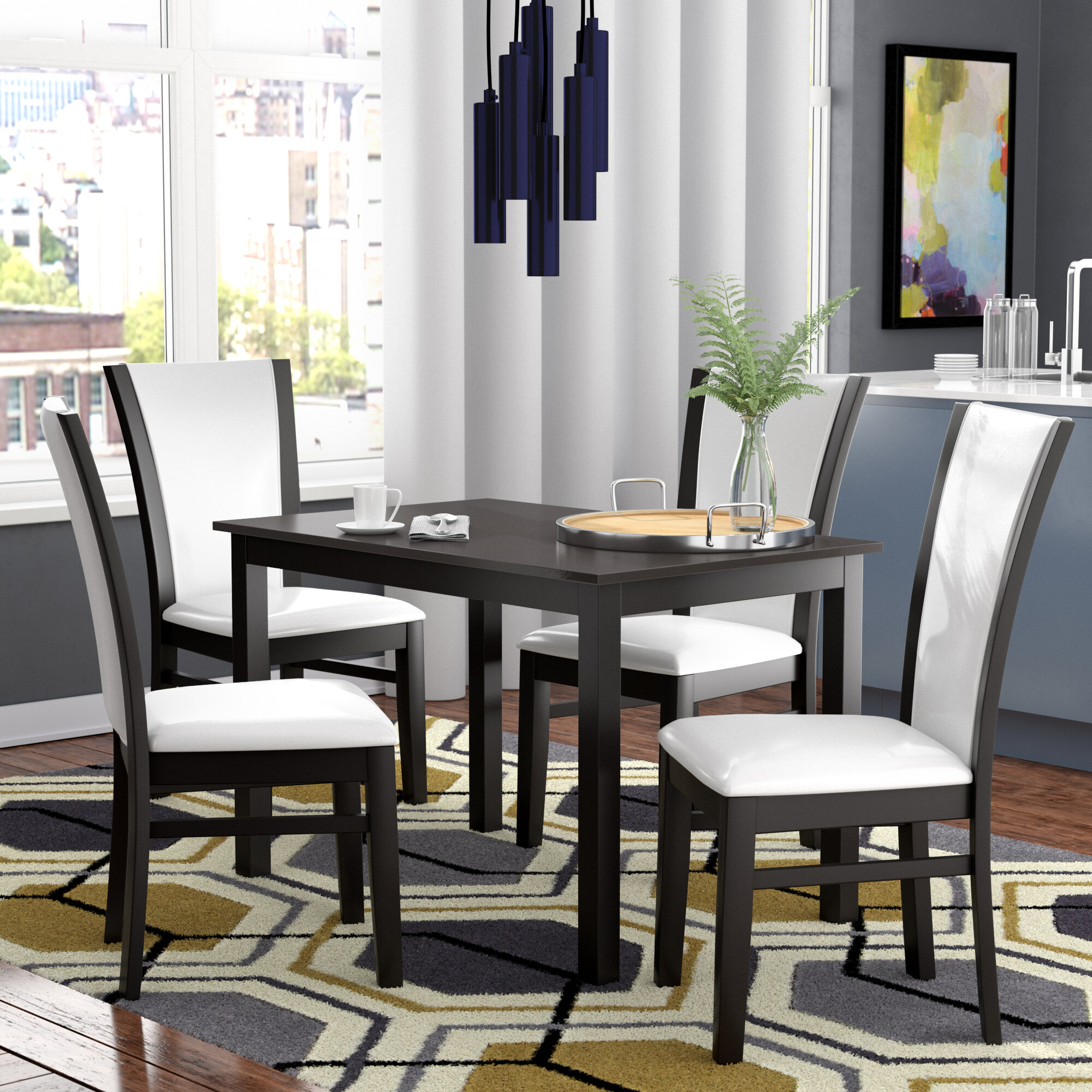 Orren Ellis Ontonagon Modern And Contemporary 5 Piece Breakfast Nook Dining Set Reviews Wayfair