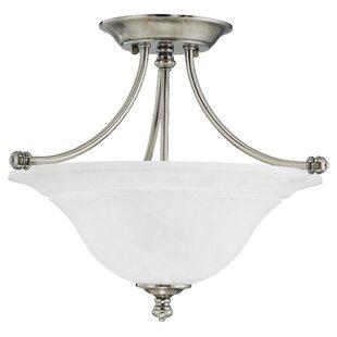 Dominy 2-Light Glass Semi Flush Mount by Winston Porter