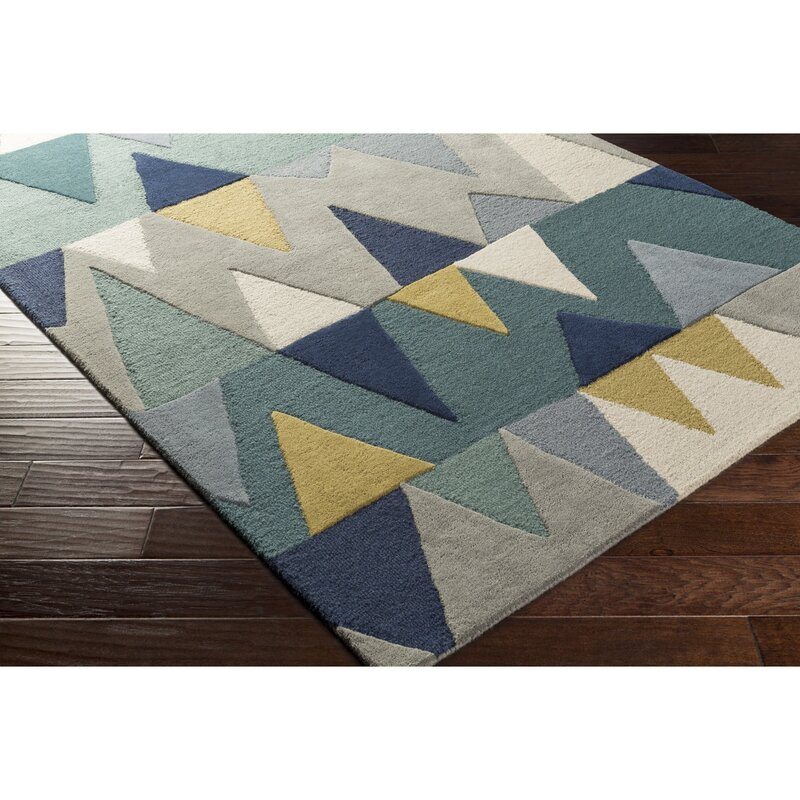 Nida Hand Tufted Wool Bright Blue Area Rug Amp Reviews