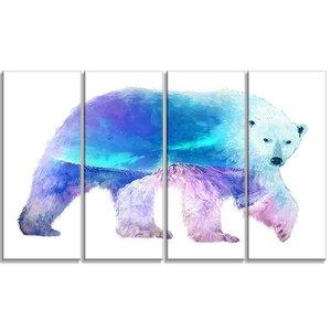 'Polar Bear Double Exposure Illustration' 4 Piece Graphic Art on Wrapped Canvas Set