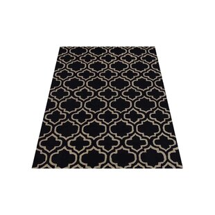 Price Check Brazier Hand-Tufted Wool Black/White Area Rug ByHouse of Hampton