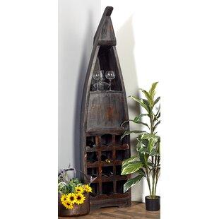 Blankenship Wood Boat 12 Bottle Floor Wine Bottle Rack