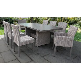 TK Classics Florence 9 Piece Outdoor Patio Dining Set with Cushions
