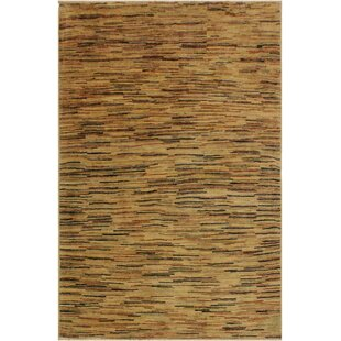 One-of-a-Kind Abigale Hand-Knotted Wool Tan/Black Area Rug Isabelline