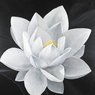 Lotus flower painting wayfair overhead view of a lotus flower oil painting print on wrapped canvas mightylinksfo