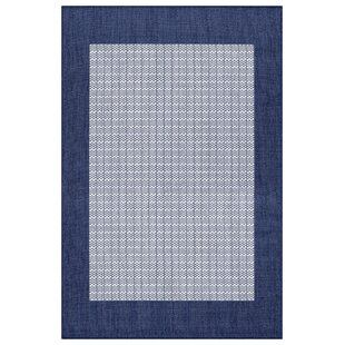 Fairhill Checkered Field Ivory/Indigo Indoor/Outdoor Area Rug by Charlton Home