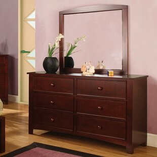 Kollman 6 Drawer Double Dresser with Mirror By Zoomie Kids