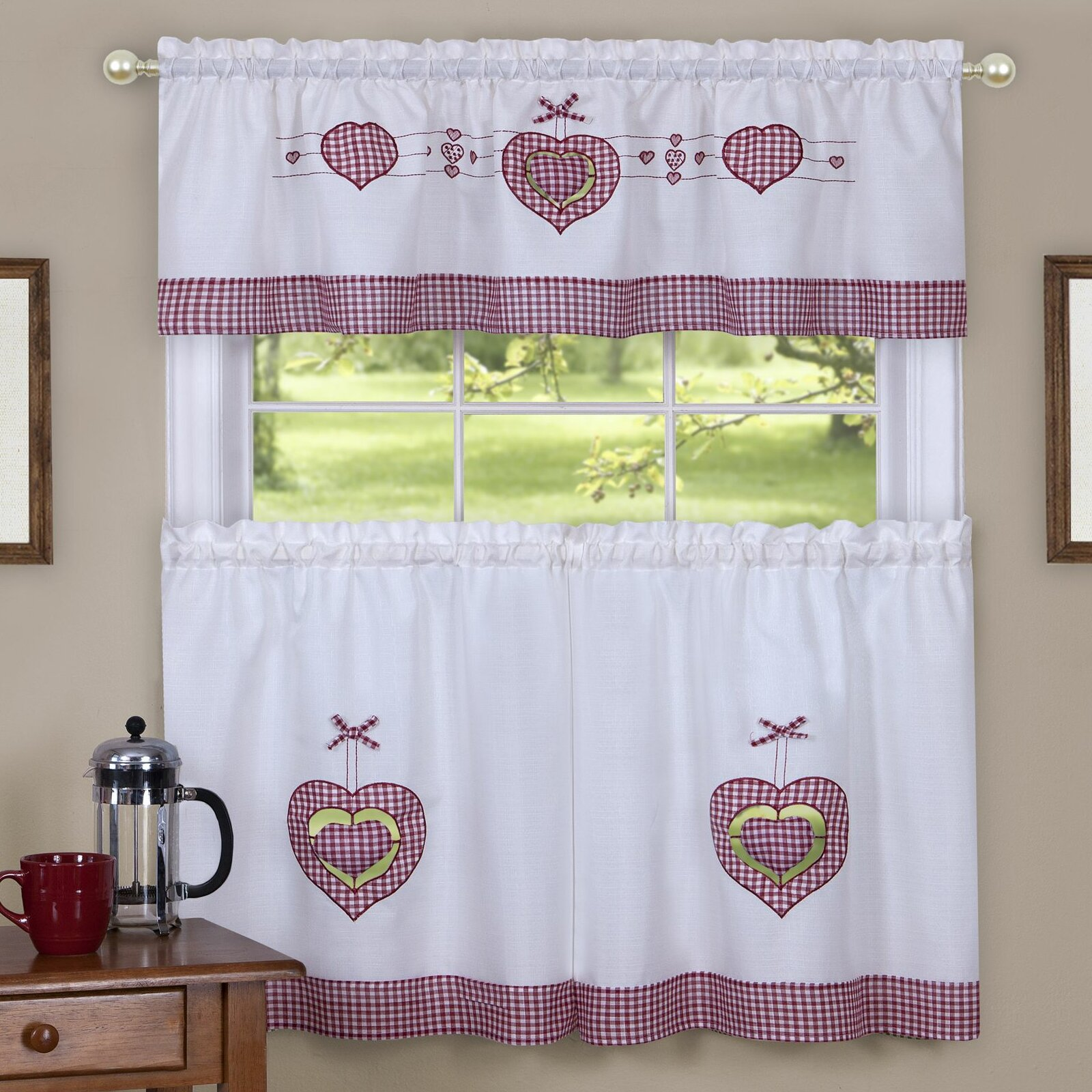August Grove Hibba Gingham Hearts Embellished 56 Kitchen Curtains Reviews Wayfair