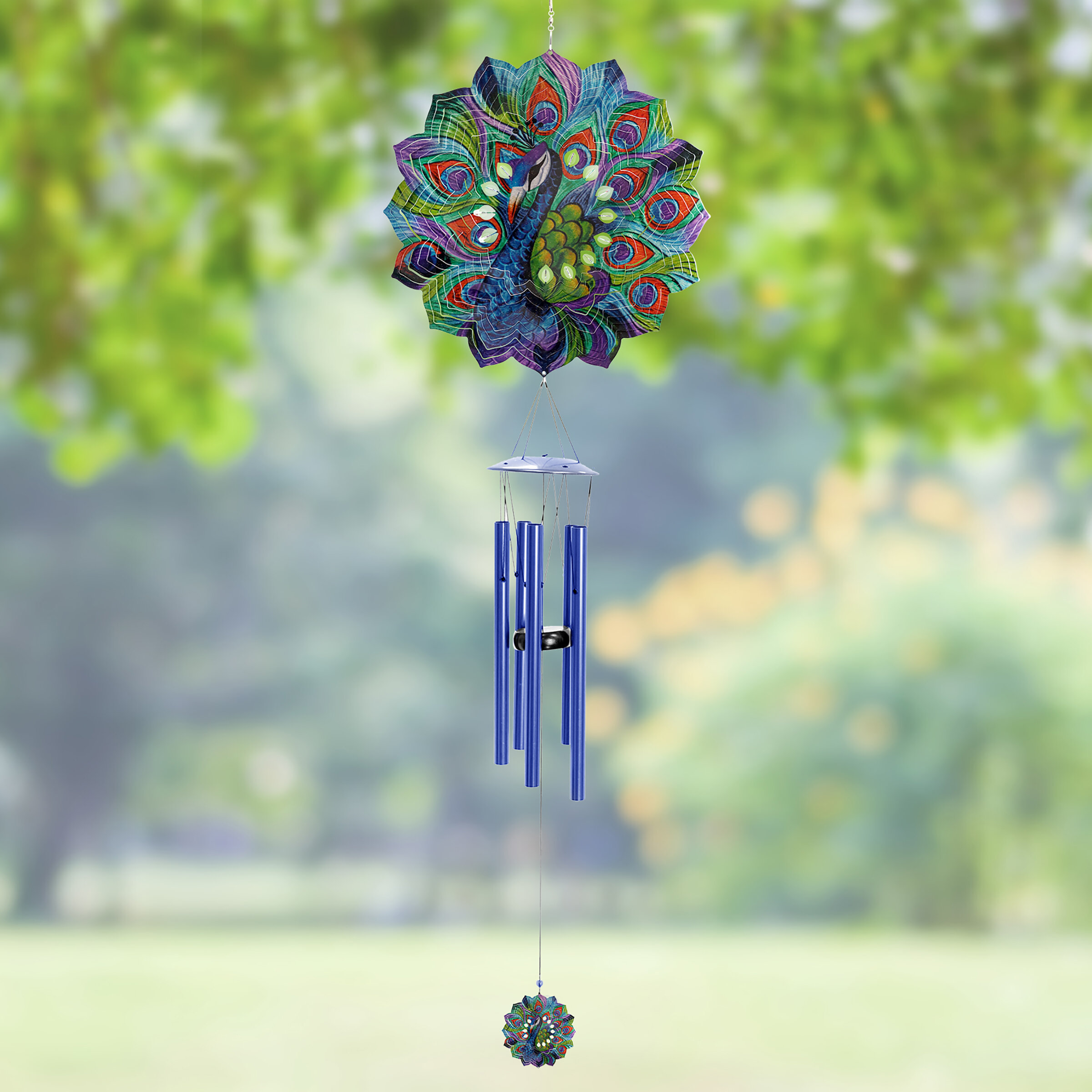 Buswell Art-In-Motion Laser Cut Peacock Metal Spinner Wind Chime