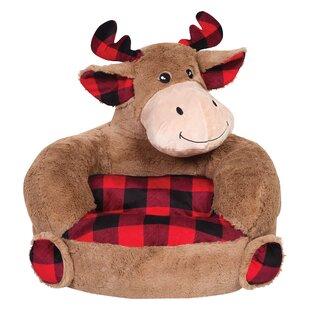 Veilleux Children S Plush Buffalo Check Moose Character Faux Fur Chair