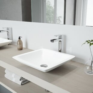Inexpensive Begonia Stone Square Vessel Bathroom Sink with Faucet By VIGO