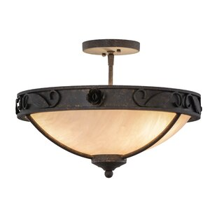 Meyda Tiffany Greenbriar Oak 3-Light Semi-Flush Mount