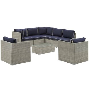 Heinrich 8 Piece Rattan Sectional Set with Cushions
