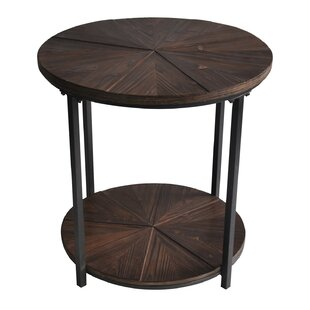 Laurel Foundry Modern Farmhouse Gallien Round Metal and Rustic Wood End Table