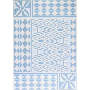 Houghtaling Flatweave Light Blue/White Rug By World Menagerie