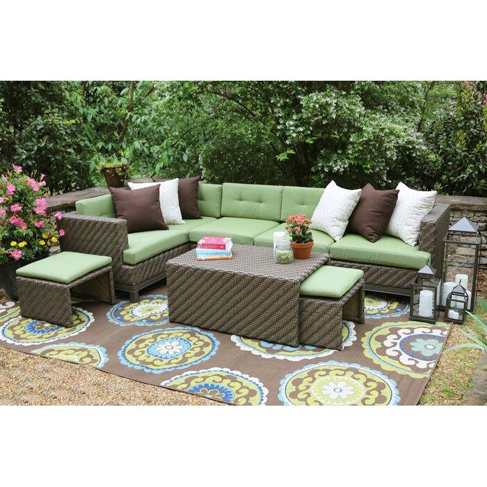 Ae Outdoor Hampton 8 Piece Rattan Sunbrella Sectional Seating Group With Cushions Reviews Wayfair
