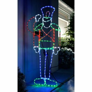 Pre-Lit Animated Saluting Soldier Rope Lighted Display Image