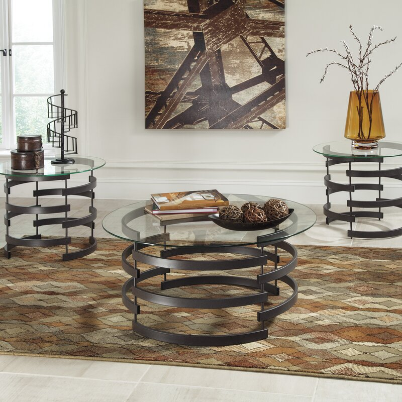 Glass Coffee Table Sets Youll Love Wayfair - Coffe table set