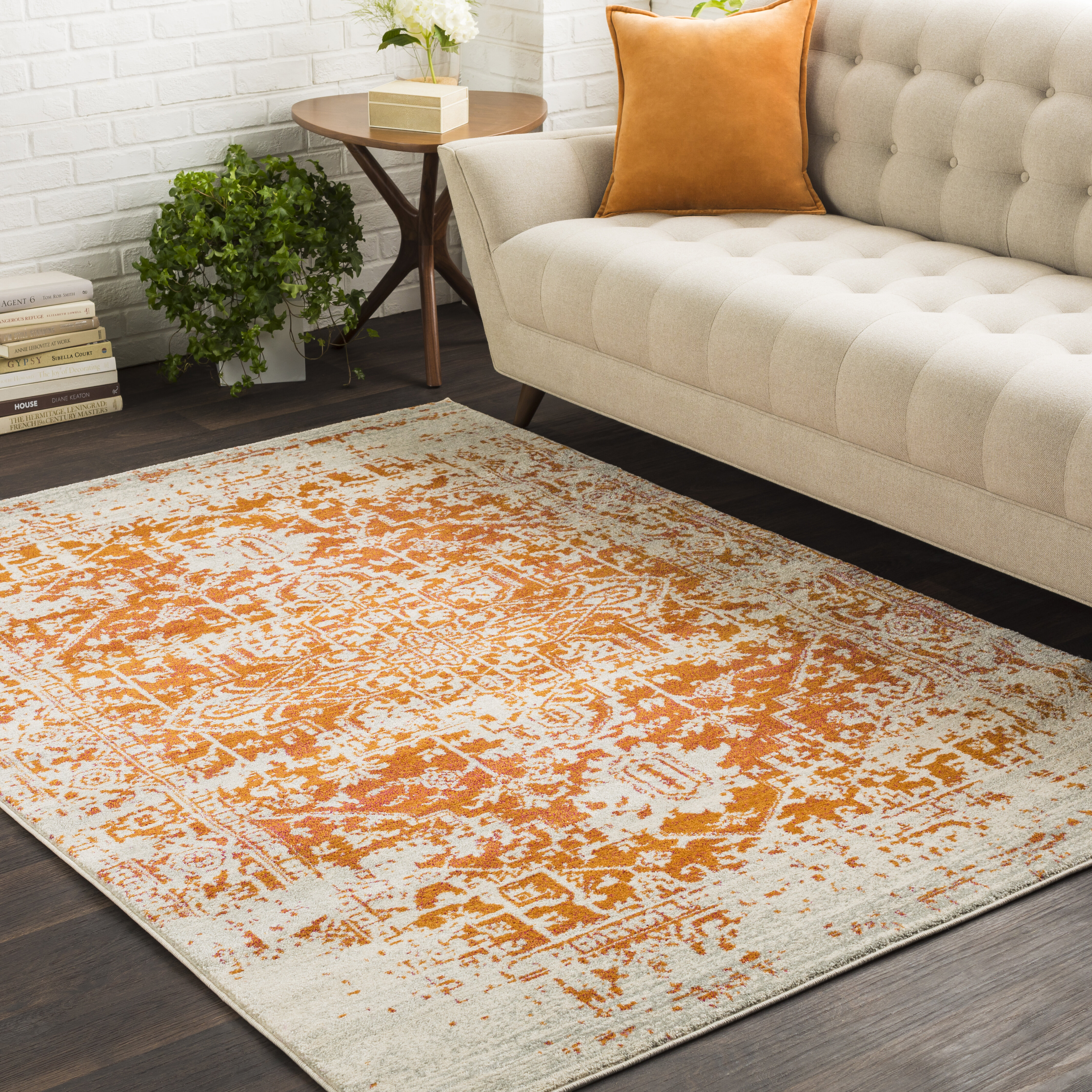 Hillsby Burnt Orange Light Gray Area Rug