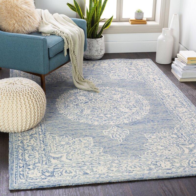 Ophelia Co Beaverton Updated Traditional Tufted Wool Blue Area Rug Wayfair