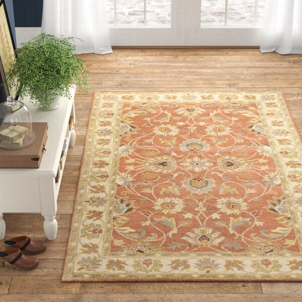 Arden Floral Hand Tufted Wool Burnt Orange Area Rug Reviews Birch Lane