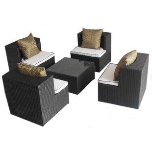 Deeco Geo-Cube 5 Piece Sunbrella Conversation Set with Cushions