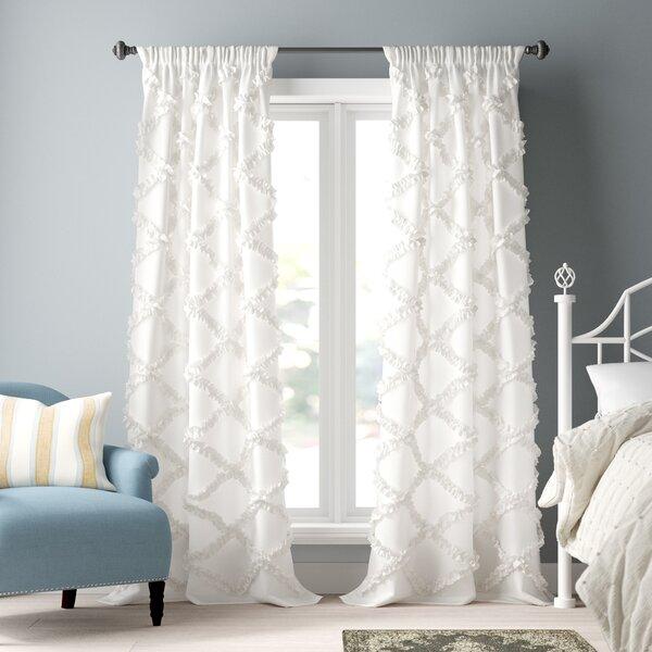 Lark Manor Ornellas Geometric Semi Sheer Thermal Rod Pocket Curtain Panel Reviews Wayfair