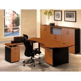 OfisELITE Executive Management 6 Piece L-Shaped Desk Office Suite