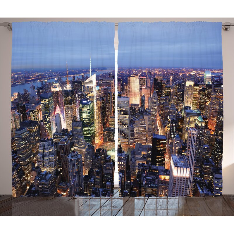New York Aerial View Of NYC Full Skyscrapers Manhattan Times Square Famous Cityscape Panorama Graphic
