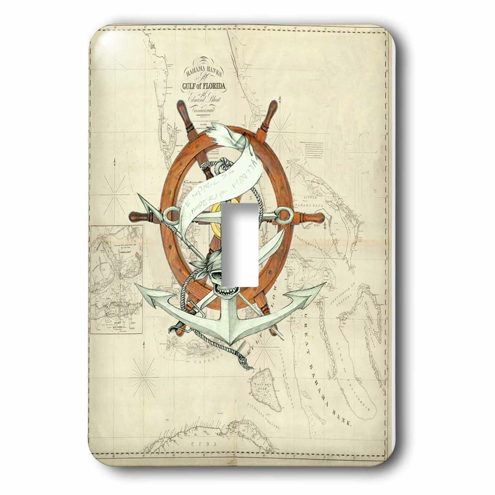 3drose Florida Chart With Pirate Wheel 1 Gang Toggle Light Switch Wall Plate