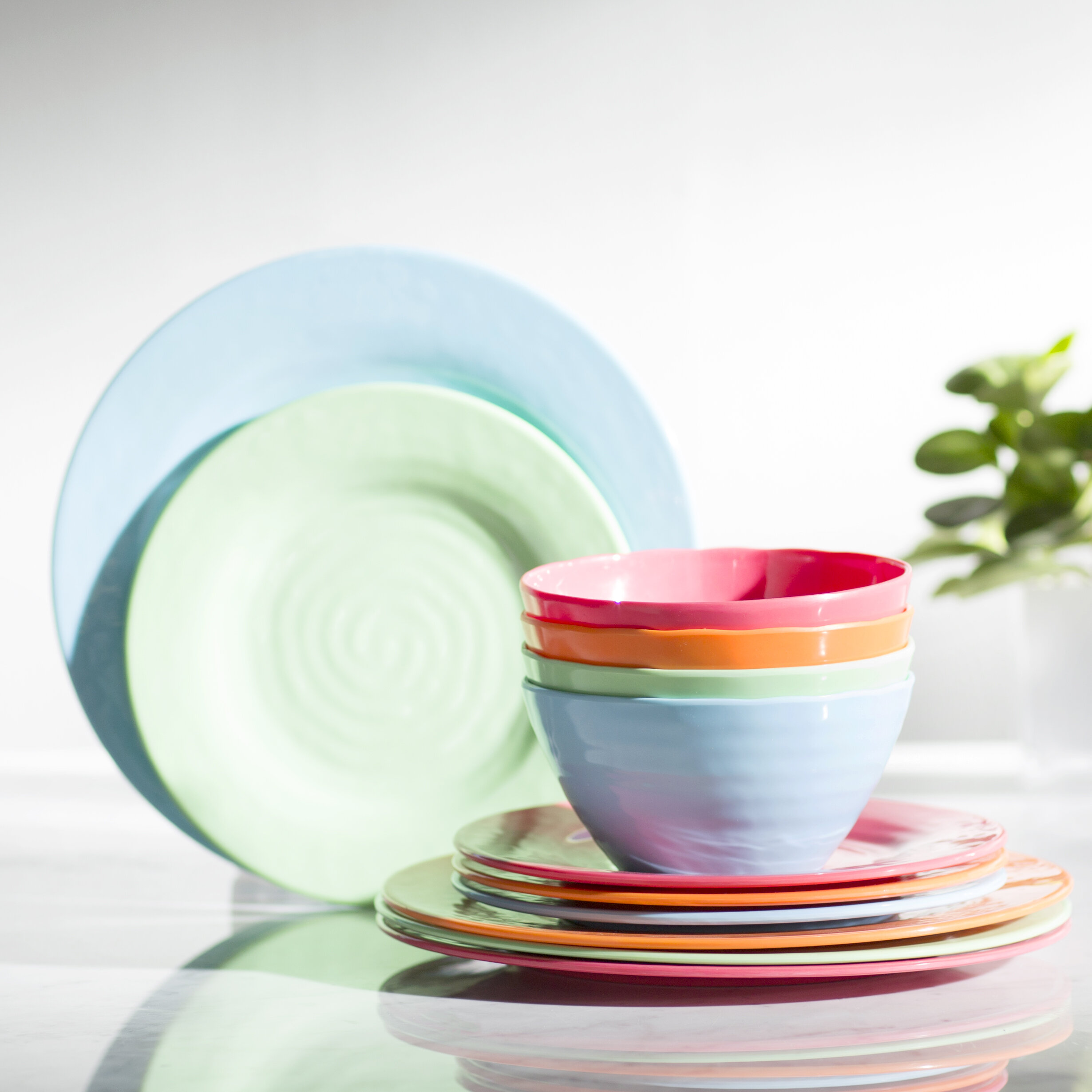 Gibson Melamine Brist 12 Piece Dinnerware Set Service for 4 u0026 Reviews | Wayfair  sc 1 st  Wayfair : dinnerware - pezcame.com