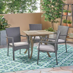 Orellana Outdoor 5 Piece Dining Set with Cushions