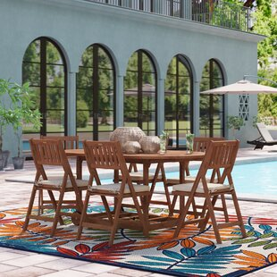 Beachcrest Home Burlin 7 Piece Dining Set with Cushions