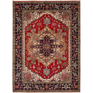 One-of-a-Kind Doerr Hand-Knotted Wool Red/Black Area Rug Isabelline