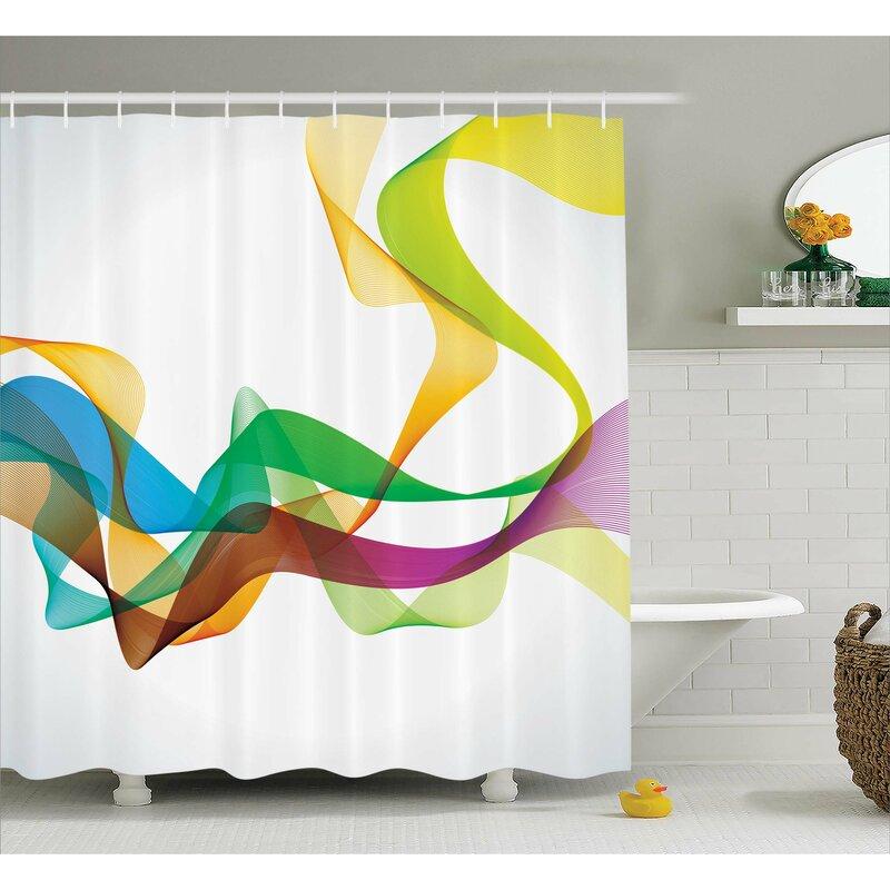 Wavy Ribbon Rainbow Print Shower Curtain
