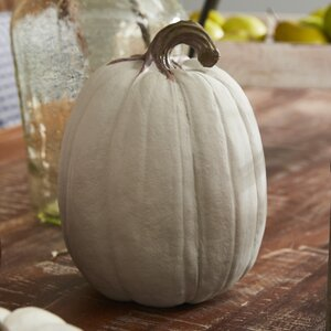 Tall Tan Stoneware Pumpkin Figurine