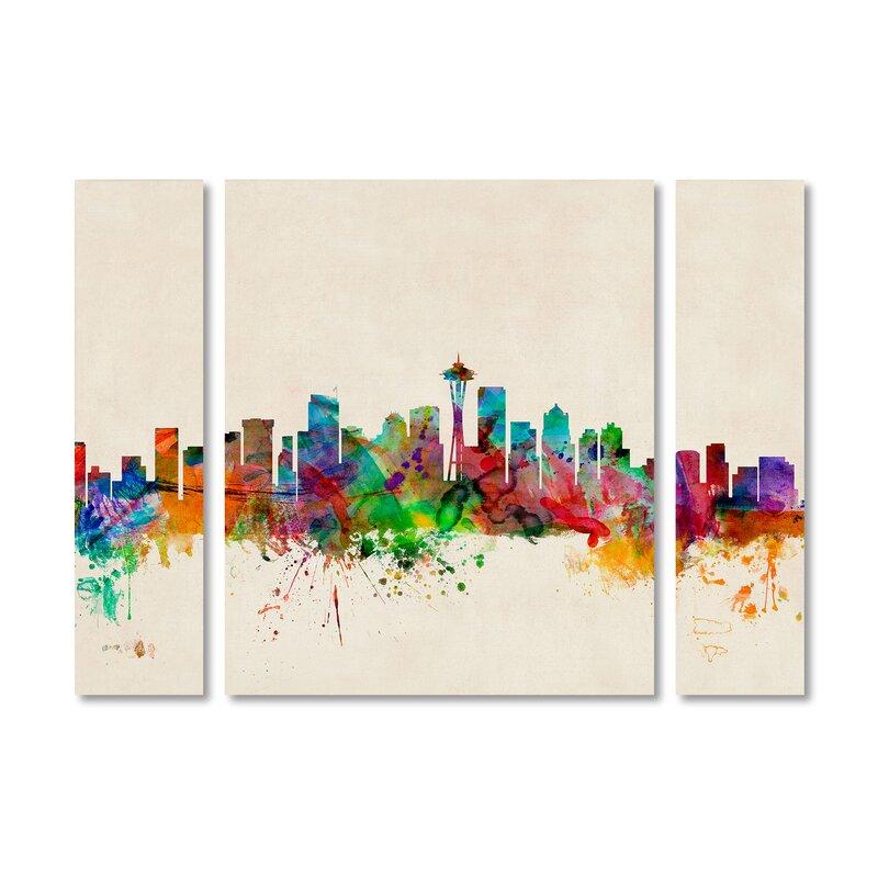 Wrought Studio Seattle Washington 3 Piece Graphic Art On Wrapped Canvas Set Wayfair