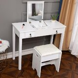 Clivden Flip-Top Vanity Set with Stool and Mirror by Winston Porter