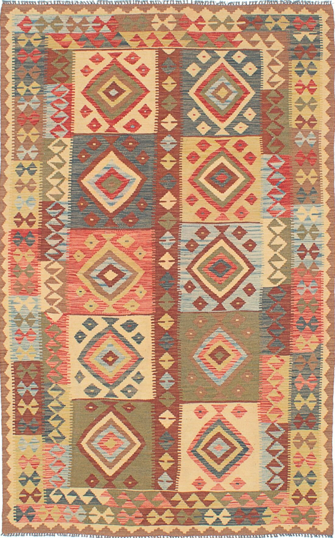 World Menagerie One Of A Kind Offerman Handwoven Flatweave 5 3 X 8 5 Wool Multicolor Area Rug Wayfair