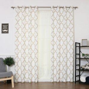 Captivating Brianna Moroccan Print Semi Opaque Grommet Top Curtain Panel Pair (Set Of 2)