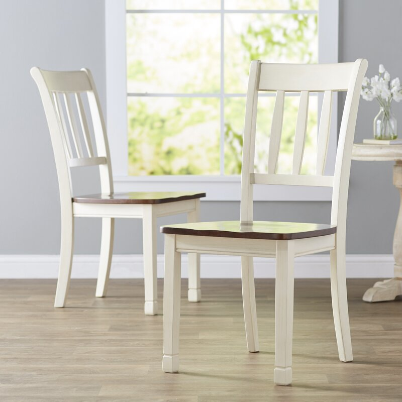 Leamont Ladder Back Side Chair in Cottage White/Brown