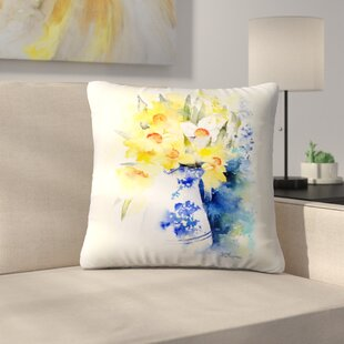 Daffs in Blue and White Vase Throw Pillow